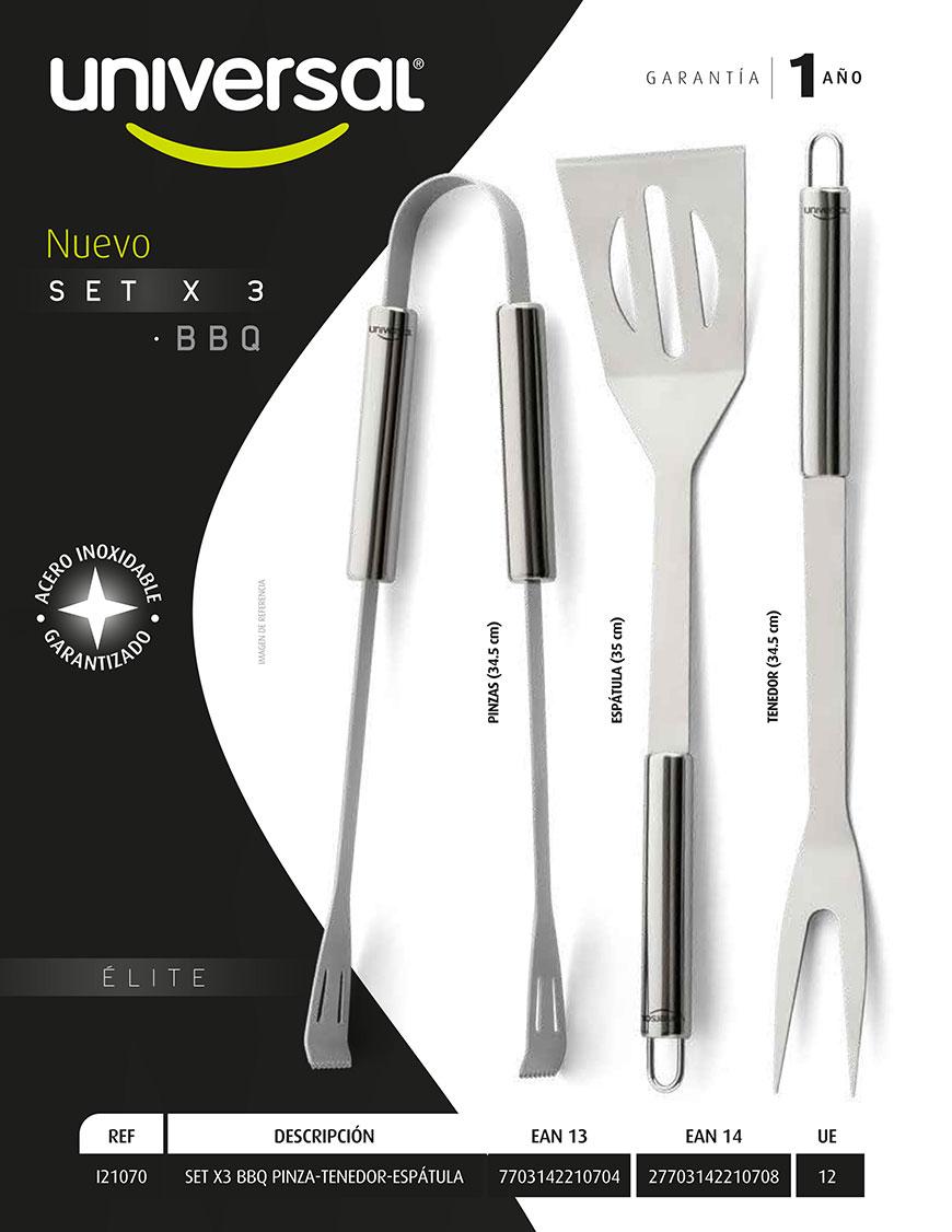 SET X3 BBQ pinzas tenedor espatula